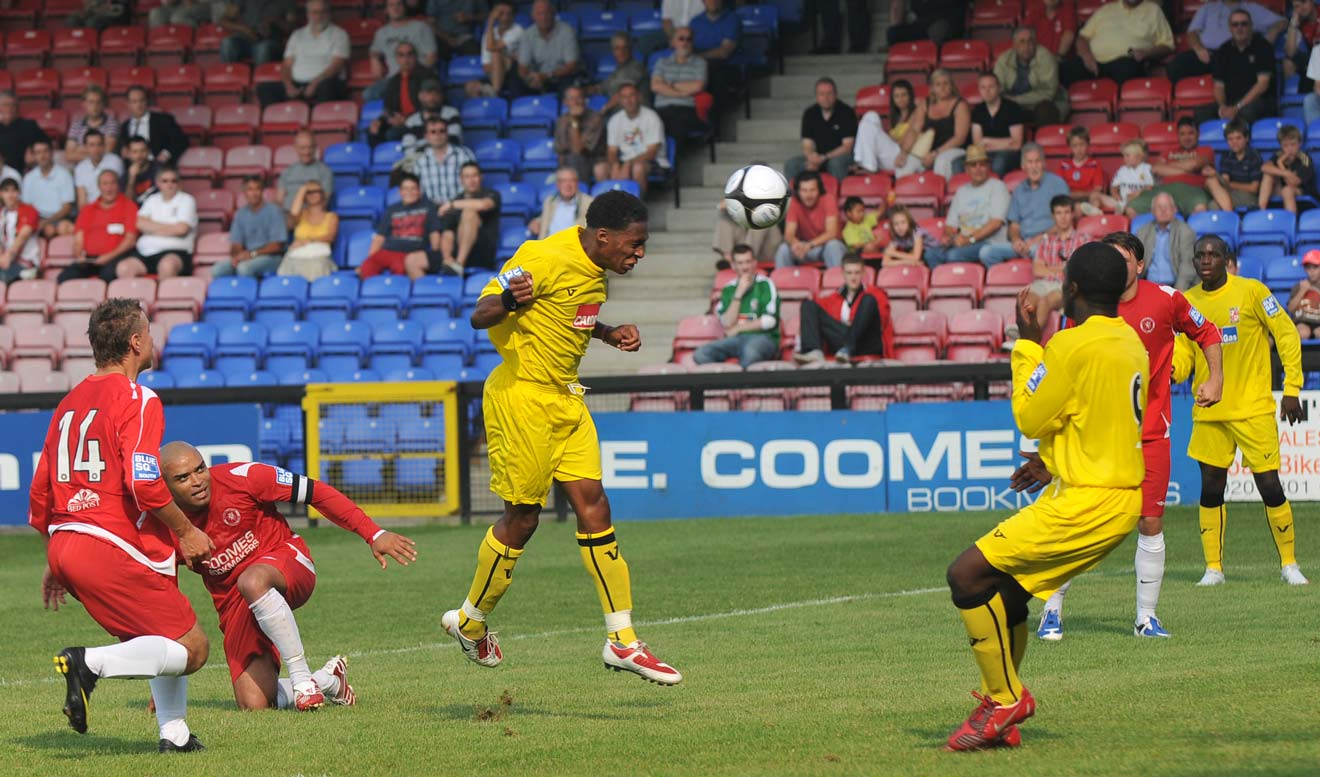 Aswad scoring on his debut, away to Welling United