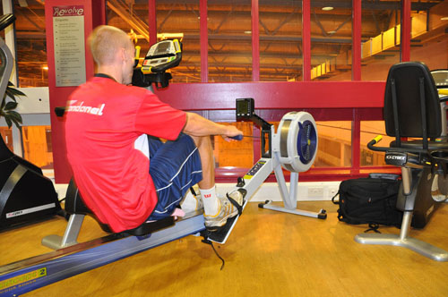 Jon Boardman on the rowing machine