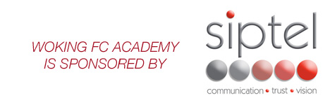 Woking FC Academy is sponsored by Siptel