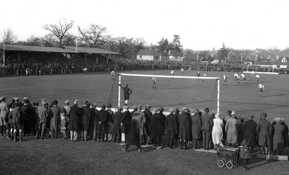 Kingfield Stadium in 1931 - Woking v Portland in the FA Amateur Cup
