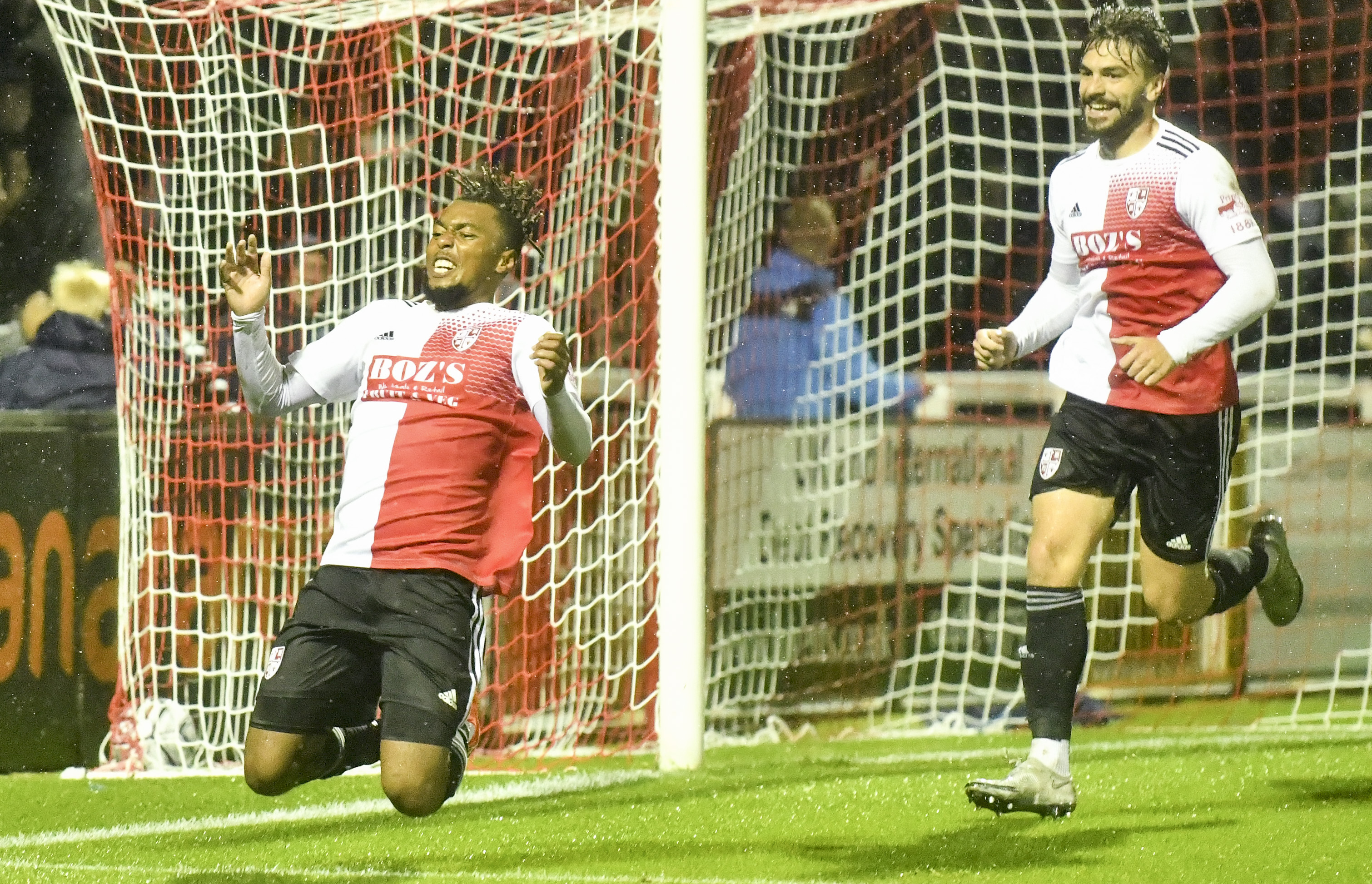 Tahvon celebrates his first of two